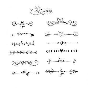 Handdrawn oranmental dividers collection