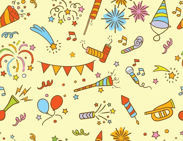 Handdrawn party & celebration doodle pattern