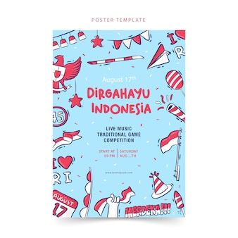 Handdrawn poster template indonesia independence day dirgahayu means celebration merdeka means independence