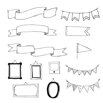 Handdrawn ribbons flags and frames