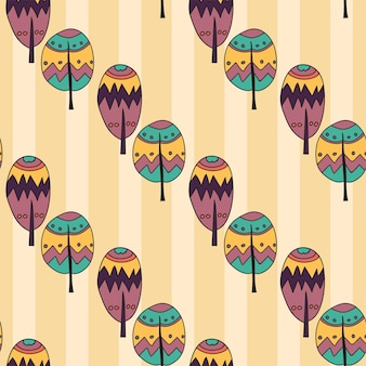 Handdrawn seamless doodle pattern of trees in bright funny colors - cartoon style