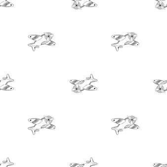 Handdrawn бесшовные модели самолет каракули значок. ручной обращается черный эскиз. знак мультфильм символ. элемент декора. белый фон. изолированный. плоский дизайн. векторная иллюстрация.