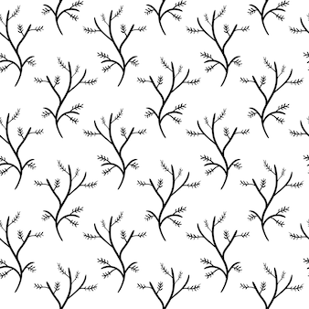 Handdrawn seamless pattern branch doodle icon. hand drawn black sketch. sign symbol. decoration element. white background. isolated. flat design. vector illustration.