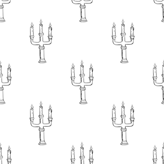 Handdrawn seamless pattern candlestick doodle icon. hand drawn black sketch. sign cartoon symbol. decoration element. white background. isolated. flat design. vector illustration.