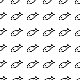 手描きのシームレスなパターンの魚の落書きアイコン。手描きの黒いスケッチ。記号記号。装飾要素。白色の背景。孤立。フラットなデザイン。ベクトルイラスト。