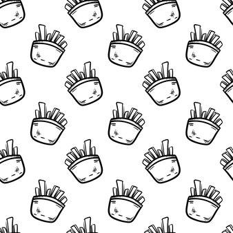 手描きのシームレスなパターンのフライドポテト落書きアイコン。手描きの黒いスケッチ。記号記号。装飾要素。白色の背景。孤立。フラットなデザイン。ベクトルイラスト。