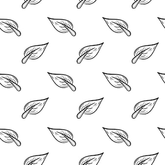 Handdrawn бесшовные лист каракули значок. ручной обращается черный эскиз. знак знака. элемент декора. белый фон. изолированный. плоский дизайн. векторная иллюстрация.