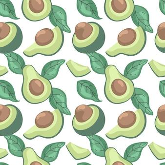 Handdrawn seamless pattern with avocado vector illustration