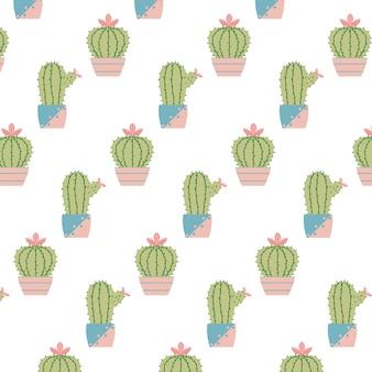 Handdrawn бесшовные модели с кактусами в горшках образец с цветущими кактусами