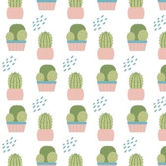 Handdrawn бесшовные модели с кактусами в горшках образец с комнатными растениями