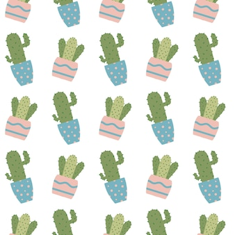 Handdrawn seamless pattern with cactuses in pots pattern with house plants