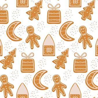 Handdrawn бесшовные модели с пряниками рождественский узор с печеньем