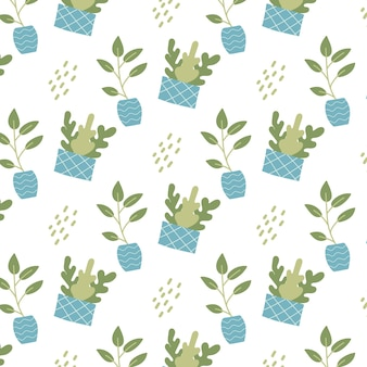 Handdrawn seamless pattern with indoor plants in blue pots patten with house plants