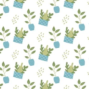 青い鉢の屋内植物と手描きのシームレスなパターン観葉植物とパッテン