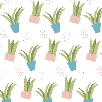 ピンクの鉢に屋内植物と手描きのシームレスなパターン観葉植物とパッテン