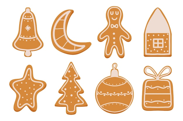Handdrawn set of gingerbread christmas gingerbread cookies for the new year