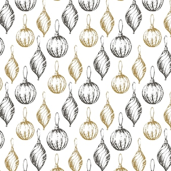 Handdrawn sketch christmas pattern new year gift
