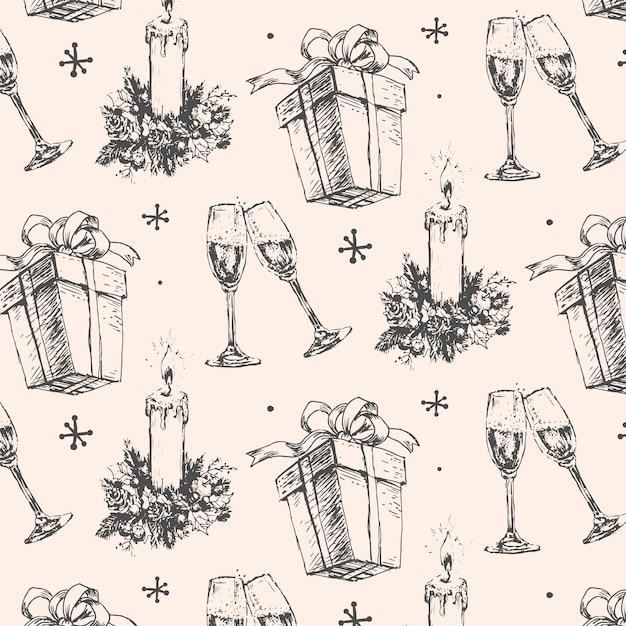 Handdrawn 스케치 크리스마스 패턴 새해 선물