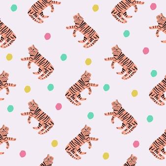 Handdrawn tiger and colorful polka dots seamless pattern