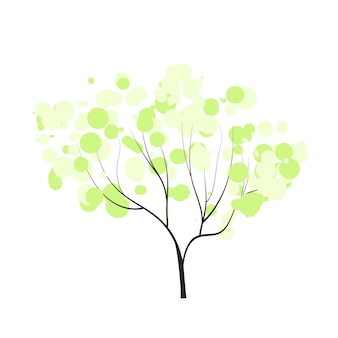 Handdrawn tree with tender bubble crown spring forest doodles vector season winter spring summer