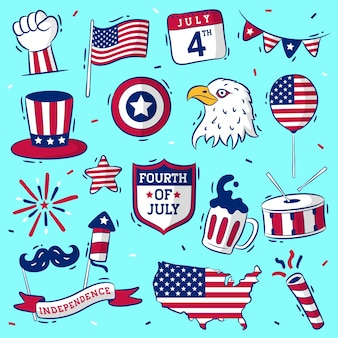 Handdrawn usa independence day