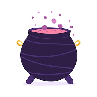 Handdrawn vector cauldron with boiling potion
