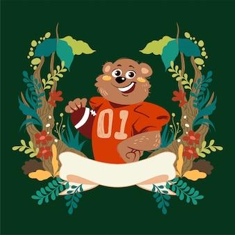 手描きのベクトルかわいい漫画のクマは、アメリカンフットボールの服と花のフレームとボールを着用します。