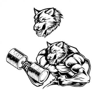 Handdrawn vector illustration strong muscular wolf