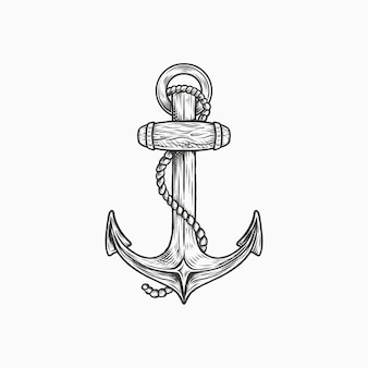 Handdrawn vintage anchor