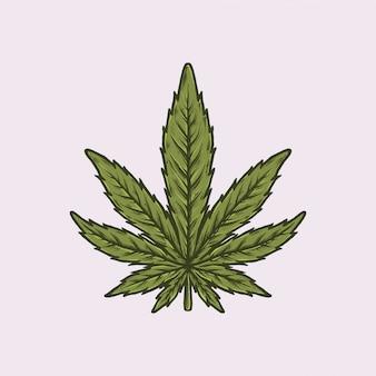 Handdrawn vintage cannabis