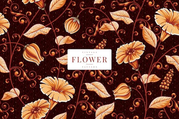 手描きヴィンテージ花柄テンプレート