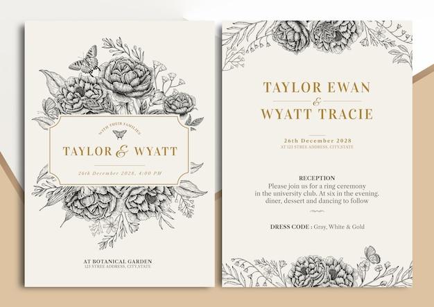 Handdrawn vintage floral wedding invitation card