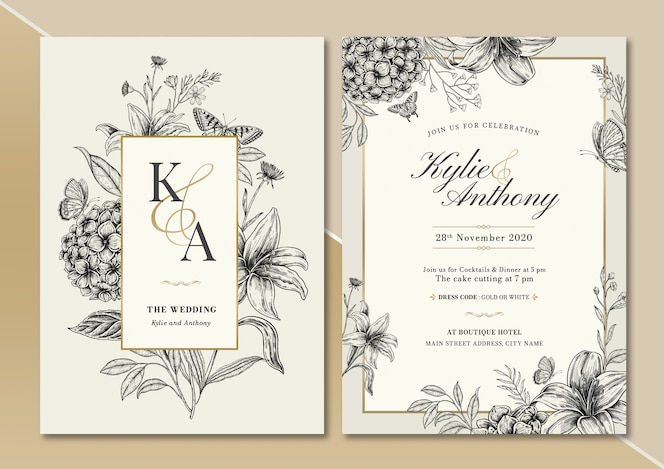 Handdrawn vintage floral wedding invitation card