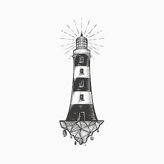 Handdrawn vintage lighthouse