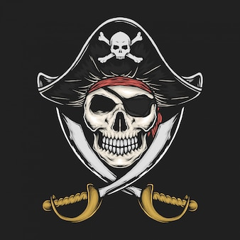 Handdrawn vintage pirate skull vector illustration
