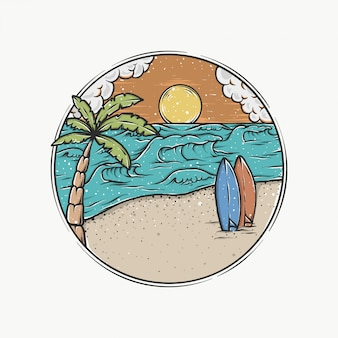 Handdrawn vintage sunset beach vector illustration