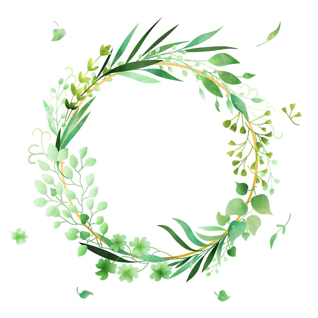 Handdrawn watercolor floral wreath frame made in vector