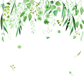 Handdrawn watercolor green floral frame made in vector