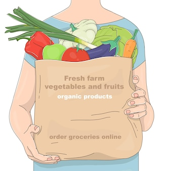 Handdrawn woman with a paper bag of farm vegetables and fruits and a place for your text