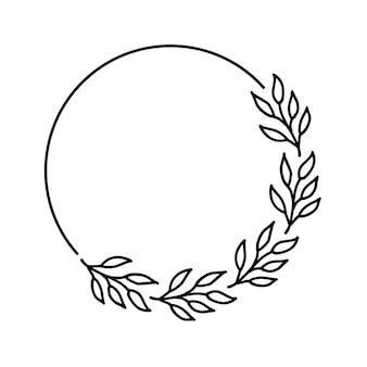 白い背景の上の手描きの花輪黒い植物落書き花輪