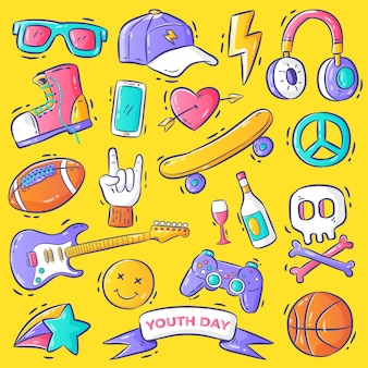 Handdrawn youth day element vector