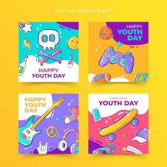 Handdrawn youth day social media post template