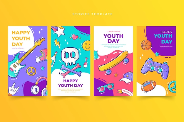 Handdrawn youth day stories template