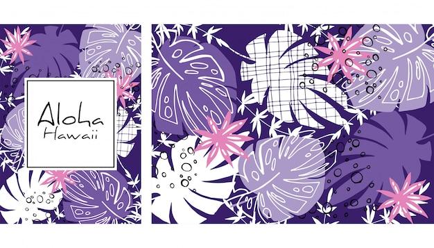 Картина тропических листьев безшовная, handdrawn иллюстрация вектора акварели. печать тропических растений. летний дизайн.