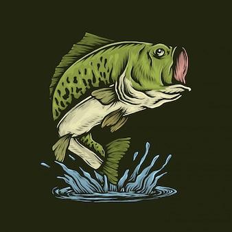 Handdrawn старинный бас рыба прыгает векторная иллюстрация