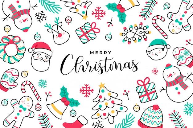 Симпатичные handdrawn рождественский фон