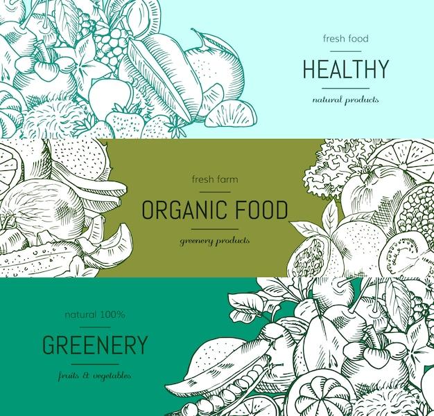Вектор каракули handdrawn овощи и фрукты веганский, набор баннеров здорового питания