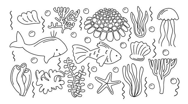 Handdrawnsea 생활 낙서 세트 손으로 그린 그림 컬렉션 물고기 조개 다른 해초