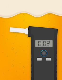 Портативный анализатор алкоголя в выдыхаемом воздухе электронное устройство. векторная иллюстрация штока.