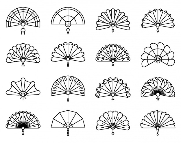 Handheld fan icons set, outline style